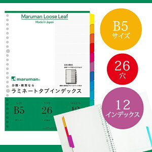 【B5サイズ】マルマン ラミネートタブインデックス ルーズリーフ 26穴 12山 12枚(LT5012)/maruman/インデックスシート