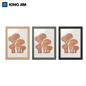 【全3色・A4】キングジム/箱型額縁 ハコブチ Lサイズ(4216)hacobuchi 収納しながらおしゃれに飾れる便利なフレーム KING JIM