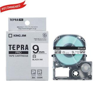 キングジム「テプラ」PRO用テプラテープ「SS9K」白ラベル黒文字幅9mm長さ8m