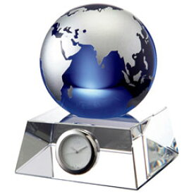 【オンリーワンギフト 最高級名入れ置時計】クリスタルの輝きと透明感の青い地球 光を屈折させる重量感 グラスワークスデスククロック・ブルーアース(M)