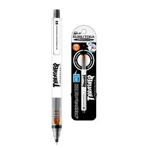 サカモト THRASHER スラッシャー ホワイト クルトガシャープペン0.5 三菱鉛筆のトガり続けるシャープペンシル スケーターに愛されるブランド
