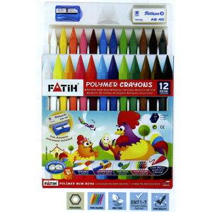 トルコの筆記具メーカー「PENSAN」☆ ポップなパッケージにポリマー素材を使用した折れにくく、消しゴムで消すことができる 六角軸ポリマークレヨン12色