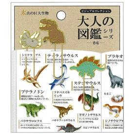 カミオジャパン 大人の図鑑 恐竜 クリップ ブックマーク 書類整理 面白雑貨