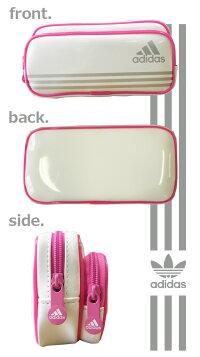 アディダス*adidas*2段エナメルペンケースペンポーチ筆箱ダブルポケットホワイト男の子女の子小学生中学生高校生文具/【P06May16】