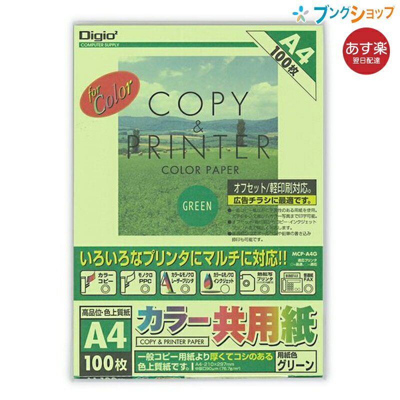 カラー共用紙/A4/100枚/グリーン MCP-A4-G ナカバヤシ コピー用紙