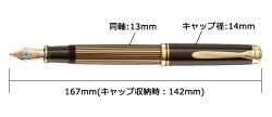 【あす楽対応】【名入れ無料】[限定]ペリカンPelikanスーベレーンM800ブラウンブラック万年筆