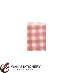 ササガワ [タカ印] ギフトバッグ 平袋 業務用 ギンガム 105×155 200枚入 あか 50-1200