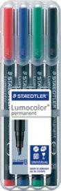 【メ可】ステッドラー ルモカラーペン<油性> 太書きB(線幅1.0〜2.5mm) 4色セット 314 WP4