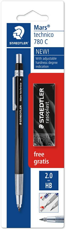 【メ可】ステッドラー マルス テクニコ 芯ホルダー 限定 ブラック字消し付きブリスターパック 780C BKP9