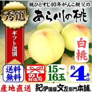 紀州和歌山 あら川の桃 【白桃種】手選り【秀選】 4kg/15〜16玉入 生産者からの直送となります。