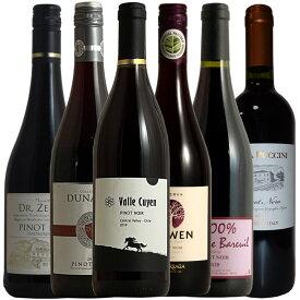ピノ好き集合 銘醸地のピノ飲み比べ!ピノノワール6本セット 送料無料 ピノ・ノワール 赤 赤ワイン ワインセット wine ギフト 750M r-41287 あす楽 母の日 おすすめ