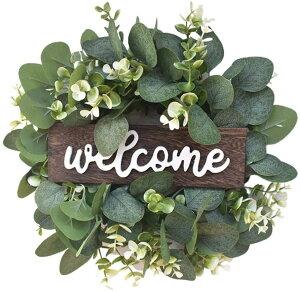 リース 造花 ユーカリ リース ドライフラワー welcome 花輪 クリスマスリース ガーランド 玄関飾り 壁掛け 庭園飾り デコレーション クラフト 屋外 結婚式 装飾用 ゴージャス ナチュラル 店舗