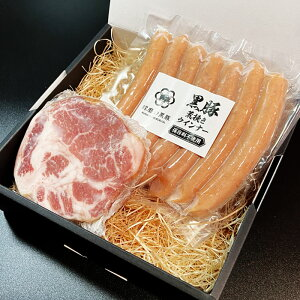 【送料無料】熊本県産 球磨の黒豚 肩ロースハム・ウインナーセット 400g(200g×2) 【国産】