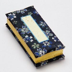 金襴錦製 鳥の子過去帳 かのん ネイビー 3.5寸