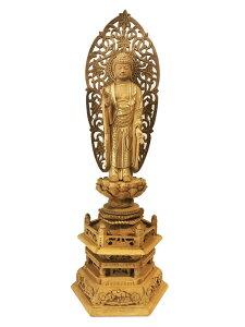 【浄土宗】仏像 楠木地彫 六角台座 舟立弥陀 金泥書 4.0寸 木彫