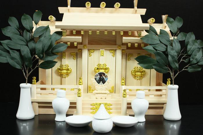 神棚セット 神具セット 屋根違い三社 福 (小) 神棚 神殿
