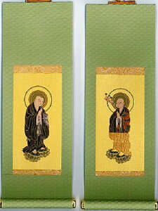 仏具【小型仏壇用 掛軸 掛け軸】 浄土宗 両脇セット 小 もえぎ
