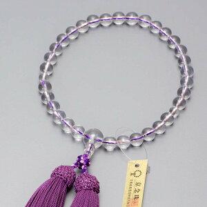数珠 女性用 本水晶8mm玉 彩色編(濃藤)
