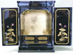 【上置仏壇】金蓮華14号『戸裏蒔絵入』塗豆仏壇二枚戸