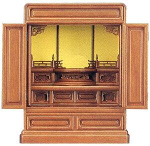 国産品小型仏壇『つばさ』 (くるみ色) 20号 丸須弥