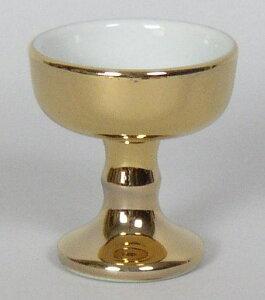 総金 仏器(大) 陶器製 仏飯器 金色 内側 白色 日本製