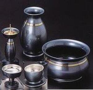 仏具セット はるか 藍錆色 帯金3.5号 5点セット 五具足 床置仏壇向 香呂 花立 花瓶 火立 仏器 仏飯器 茶器 茶碗