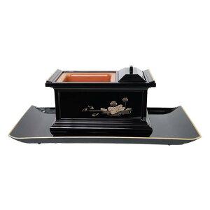 焼香盆セット黒蓮(フチ金)6.0【法事】【仏事】【お香】【お盆】