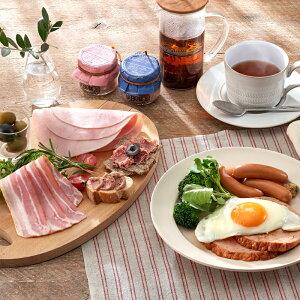 お試し プチホリデーモーニングセット 送料無料 朝ごはん 朝ご飯 亜麻仁豚 ノンスモークボンレスハム ベーコン 細びきウインナー バイエルンケーゼ レバーペースト コンビーフ