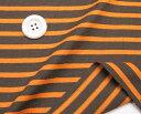 ニット生地      ボーダー18/2天竺 太いボーダーブラウン/オレンジ ボーダー Tシャツ  50cm単位 はかり売り 手芸   tシャツ