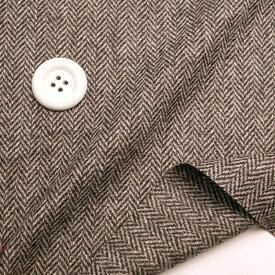ふんわり暖かな ウール/アクリル ヘリンボーンブラウン/ベージュ 春ツイード  コットン 50cm単位 はかり売り 手芸 クラフト 生地 布 ファッション