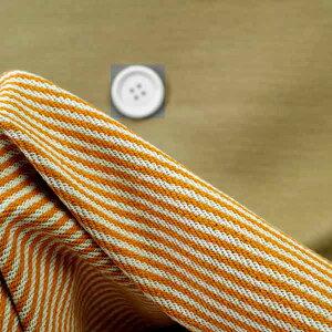 ニット生地 リバーシブル ダブルフェイス 150cm 幅カーキ/オレンジーオフ3ミリ ボーダー50cm単位 はかり売り 手芸 クラフト 布 生地