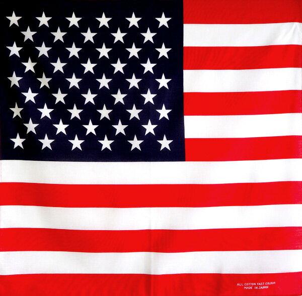 【あす楽対応】アメリカ国旗柄 定番サイズバンダナ(日本製)綿コットン100%(星条旗 USA 三角巾 四角巾 バンダナキャップ)