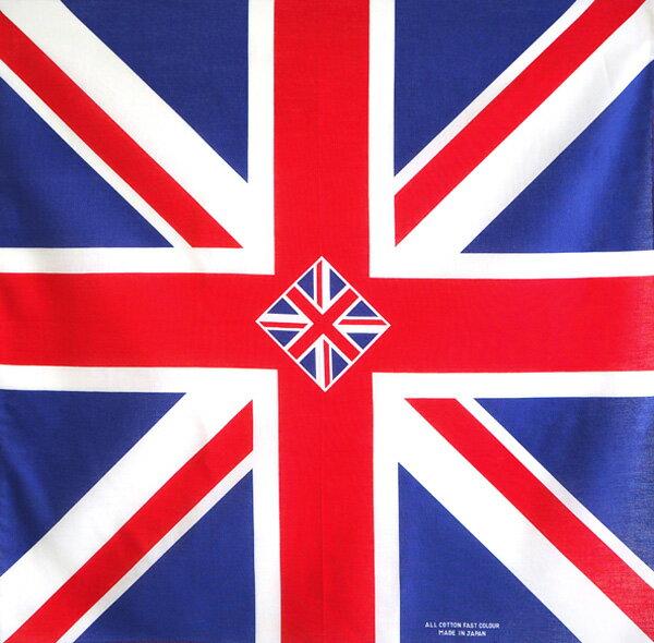 【あす楽対応】イギリス国旗柄 定番サイズバンダナ(日本製)綿コットン100%(英国国旗 ユニオンジャック 三角巾)