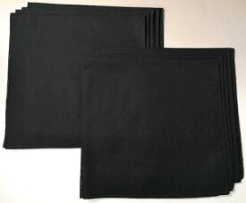 【送料無料】日本製国産 無地バンダナ(黒)【10枚セット】(綿コットン100% 三角巾 スカーフ ハンカチ ブラック) bandana black