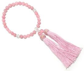 お数珠 天然石ローズクォーツ 念珠(ピンク 女性用 葬式 通夜 法事 ブラックフォーマル 宗派を問わない汎用タイプ) Rosary