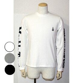 Marble Tree(マーブルツリー)長袖サガラ刺繍Tシャツ胸ワンポイント 腕ロゴホワイト ブラック グレー