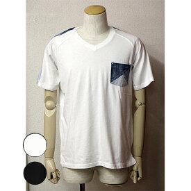REAL MASTERS(リアルマスターズ)Vネック半袖ポケットTシャツ胸ポケット 肩ラインホワイト ブラック