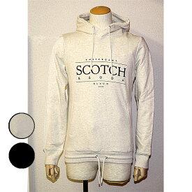 SCOTCH&SODA(スコッチ&ソーダ)プリントロゴパーカープルオーバー スウェット 長袖杢ホワイト ブラック
