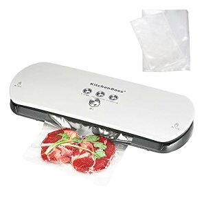KitchenBoss 真空パック器 真空包装機 自動真空シーラー 真空パック機 手動吸引機能 家庭用 業務用 20枚パック袋と空気抜きパイプ 日