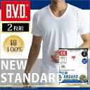 U首半袖シャツ 2枚組 BVD NEW STANDARD /メンズインナー/【綿100%】/インナーシャツ【奥さま】【白】 【コンビニ受取対応商品】