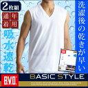 「期間限定セール+お買得な2枚組+吸水速乾」B.V.D. BASIC STYLE Vネックスリーブレス  シャツ メンズ インナーシ…