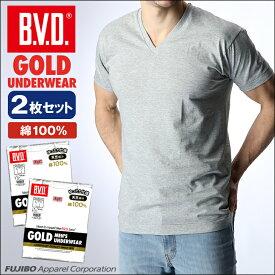 【50%OFF】B.V.D.GOLD VネックTシャツ 2枚セット M L BVD B.V.D. 【綿100%】V首 メンズ インナー 下着 インナーシャツ【白】 【コンビニ受取対応商品】 gf924-2p