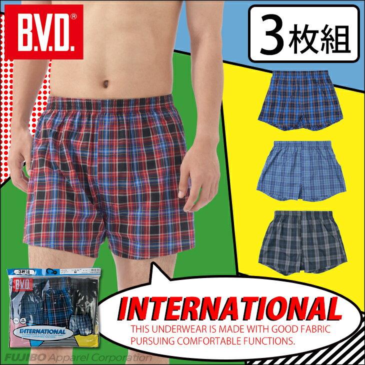 【メール便送料無料】BVD トランクス 3枚組 メンズ  前あき セット メンズ B.V.D.INTERNATIONAL bvd コットン 綿 下着 ワーク ビジネス ll アンダーウェア 大きいサイズ 男性 男性下着 インナー nx001-3p
