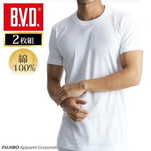 丸首半袖Tシャツ 2枚組 BVD NEW STANDARD 丸首半袖Tシャツ/メンズインナー/【綿100%】/インナーシャツ 下着 肌着【白】ey703