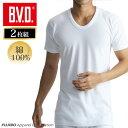 【メール便専用・送料無料】U首半袖シャツ 2枚組 BVD NEW STANDARD /メンズインナー/【綿100%】/インナーシャツ【白】 ey704