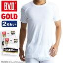 B.V.D.GOLD 丸首半袖シャツ 2枚セット S,M,L  BVD 【綿100%】 シャツ インナーシャツ メンズ下着 無地 tシャツ 白…