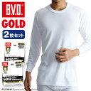 B.V.D.GOLD 丸首8分袖Tシャツ 2枚セット S,M,L  BVD 【綿100%】 シャツ メンズ インナーシャツ 下着【白】 【コ…