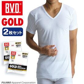 2枚組セット!B.V.D. GOLD V首半袖シャツ(スッキリタイプ) M,Lサイズ BVD 綿100% シャツ メンズ インナーシャツ g044-2p