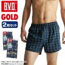 B.V.D.GOLD トランクス 2枚セット S,M,L  チェック柄おまかせ2枚  【綿100%】  メンズ インナー 下着 【コンビニ受取対応商品】 g192-2p