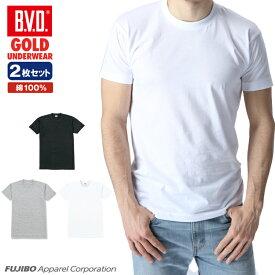 【40%OFF】B.V.D.GOLD クルーネックTシャツ 2枚セット M L BVD B.V.D. 【綿100%】丸首 メンズ インナー 下着 インナーシャツ【白】 【コンビニ受取対応商品】 gf923-2p